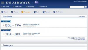 Hartford to Tampa: US Airways Booking Page