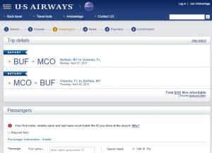 Buffalo to Orlando: US Airways Booking PAge