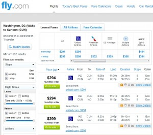 Washington D.C. to Cancun: Fly.com Results