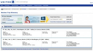 Washington D.C. to Cancun: United Booking Page
