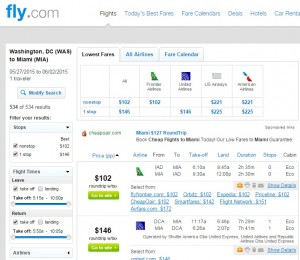 Washington, D.C., to Miami: Fly.com Results