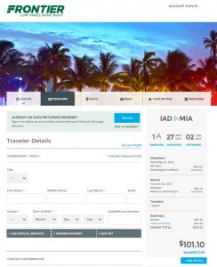 Washington, D.C., to Miami: Frontier Booking Page