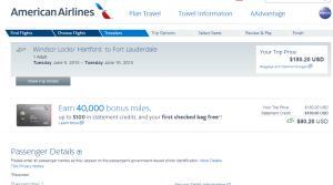 Hartford to Fort Lauderdale: American Airlines Booking Page
