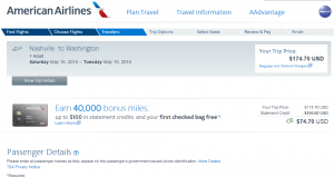 Nashville to D.C.: American Airlines Booking Page