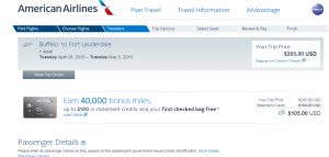 Buffalo to Ft Lauderdale: American Airlines Booking Page