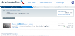 NYC to Curacao: American Airlines Booking Page