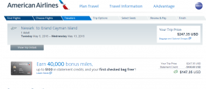 NYC to Grand Cayman: American Airlines Booking Page