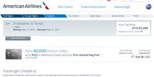 Philly to Tampa: American Airlines Booking Page