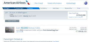 St Louis to D.C.: American Airlines Booking Page