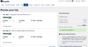 Dallas to Denver: Expedia Booking Page