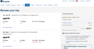 Ft Lauderdale to LA: Expedia Booking Page