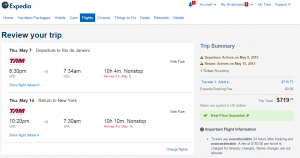 NYC to Rio: Expedia Booking Page
