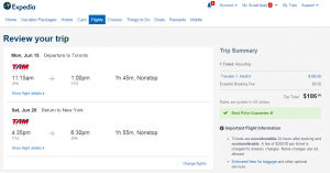 NYC to Toronto: Expedia Booking Page