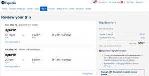 Philly to Dallas: Expedia Booking Page