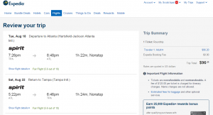 Tampa to Atlanta: Expedia Booking Page