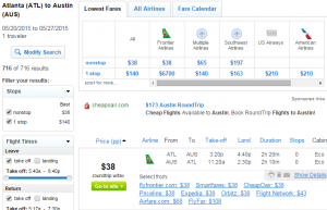 Atlanta to Austin: Fly.com Results Page