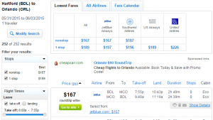 Hartford to Orlando: Fly.com Results Page