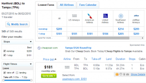 Hartford to Tampa: Fly.com Results Page