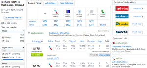 Nashville to D.C.: Fly.com Results Page