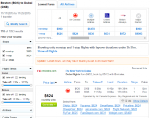 Boston to Dubai: Fly.com Results Page