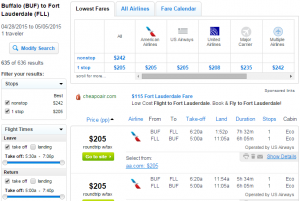 Buffalo to Ft Lauderdale: Fly.com Results Page