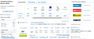 Cleveland to Boston: Fly.com Results Page