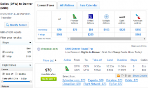 Dallas to Denver: Fly.com Results Page