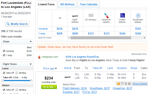 Fort Lauderdale to Los Angeles: Fly.com Results Page