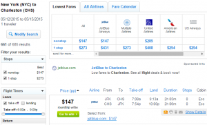 New York City to Charleston: Fly.com Results Page