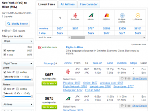 NYC to Milan: Fly.com Results Page