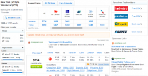 New York City to Vancouver: Fly.com Results Page