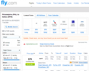 Philly to Dallas: Fly.com Results Page