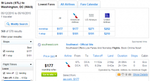 St Louis to D.C.: Fly.com Results Page
