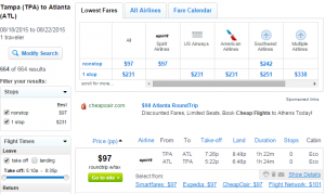 Tampa to Atlanta: Fly.com Results Page
