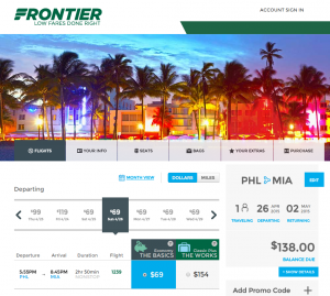 Philly to Miami: Frontier Results Page