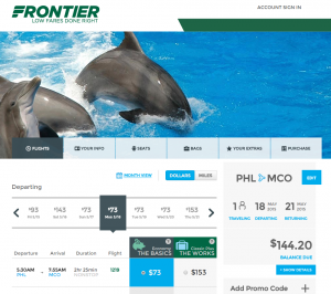 Philly to Orlando: Frontier Results Page