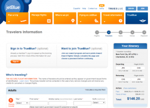New York City to Charleston: JetBlue Booking Page