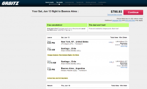 NYC to Buenos Aires: Orbitz Booking Page