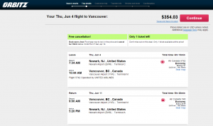 NYC to Vancouver: Orbitz Booking Page
