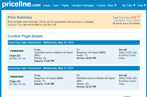 Atlanta to Austin: Priceline Booking Page