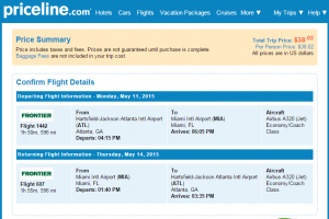 Atlanta to Miami: Priceline Booking Page