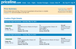 Atlanta to New Orleans: Priceline Booking Page