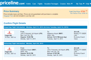 NYC to Toronto: Priceline Booking Page