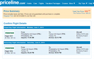 Philly to Tampa: Priceline Booking Page
