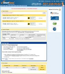 Cleveland to Boston: Smartfares Booking Page