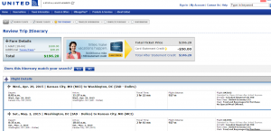 Kansas City to D.C.: United Airlines Booking Page