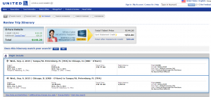 Tampa to Chicago: United Booking Page