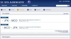 NYC to Orlando: US Airways Booking Page
