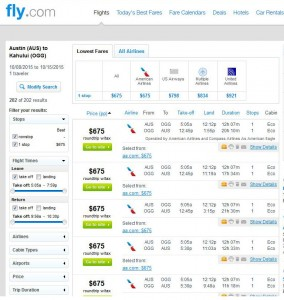 Austin-Maui: Fly.com Search Results