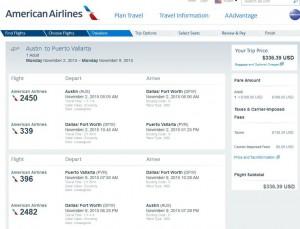 Austin-Puerto Vallarta: American Booking Page